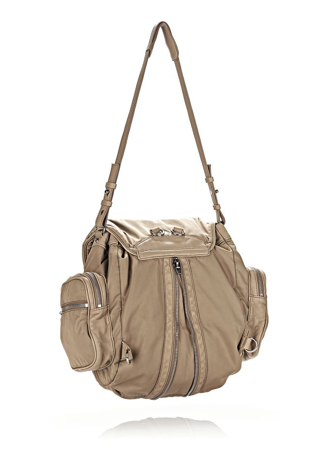 ... ALEXANDER WANG MARTI IN KHAKI LEATHER AND NYLON WITH RHODIUM BACKPACK Adult 12_n_a