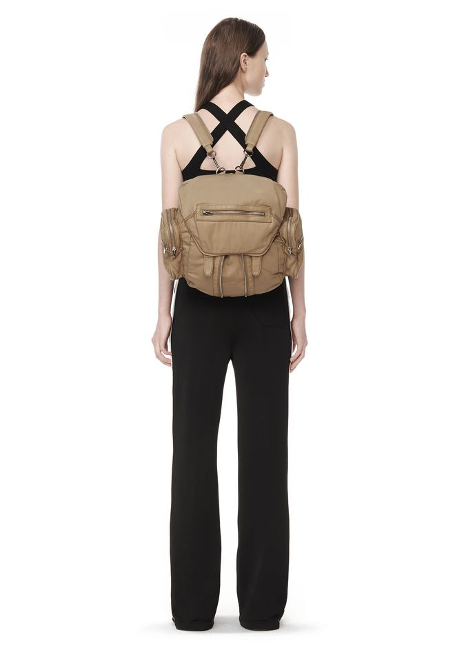 ... ALEXANDER WANG MARTI IN KHAKI LEATHER AND NYLON WITH RHODIUM BACKPACK Adult 12_n_r ...