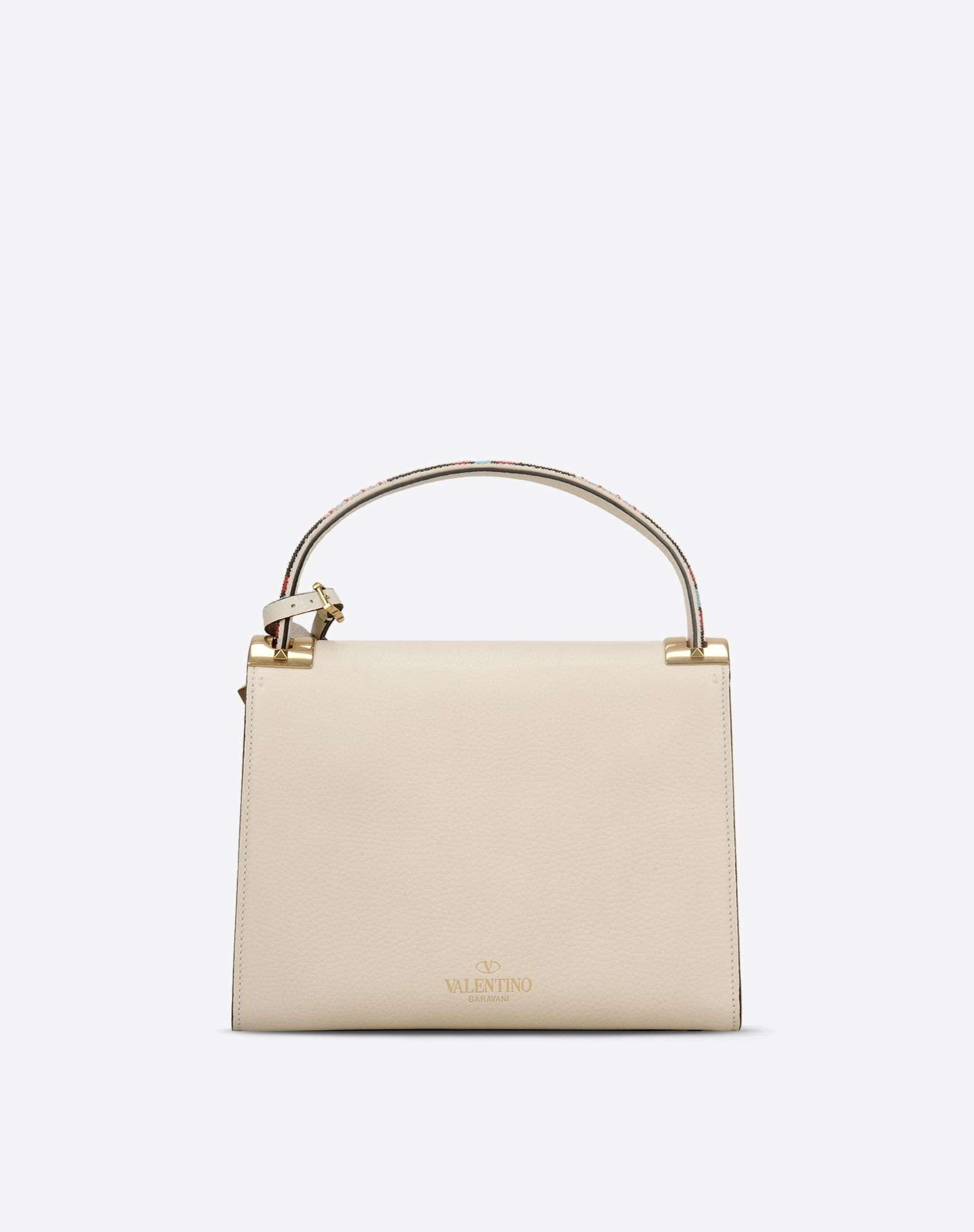 VALENTINO Textured leather Beaded detailing Logo Solid colour Magnetic closure Removable shoulder strap  45301930ln