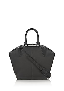 MATTE EMILE TOTE IN PEBBLED BLACK WITH MATTE BLACK