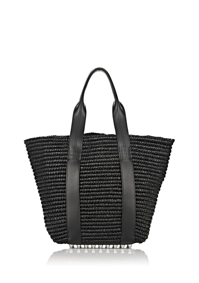 ALEXANDER WANG TOTES Women RAFFIA PANIER TOTE IN BLACK WITH RHODIUM