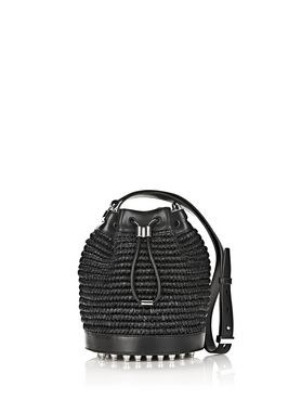 RAFFIA BUCKET IN BLACK WITH RHODIUM