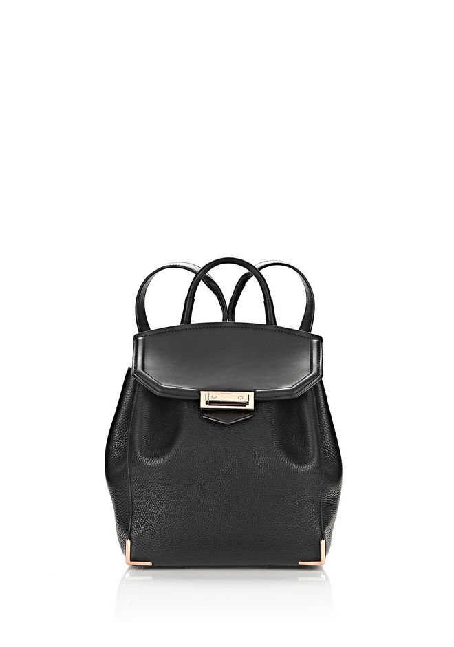 ALEXANDER WANG BACKPACKS Women PRISMA MINI BACKPACK IN PEBBLED BLACK WITH ROSE GOLD
