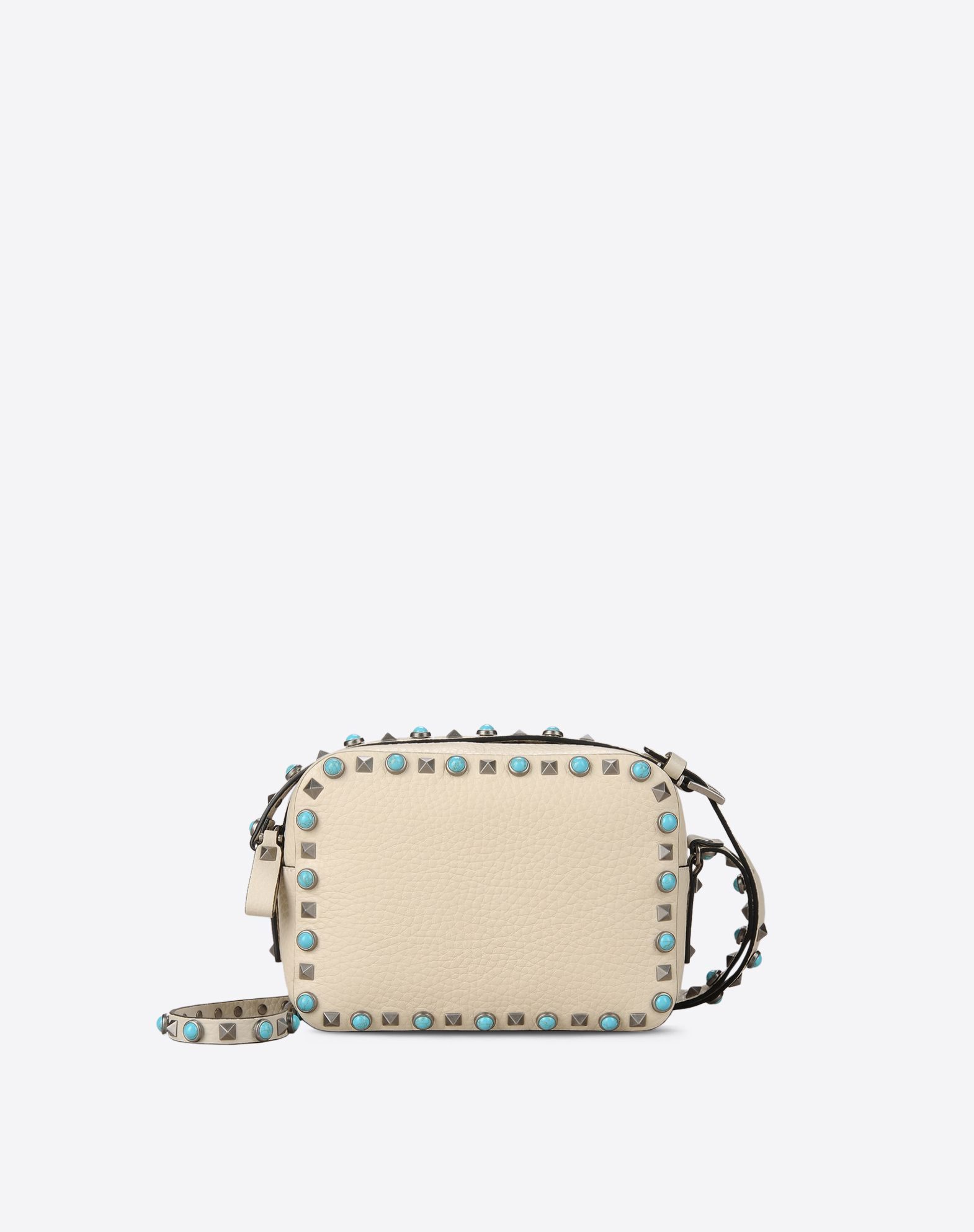 VALENTINO Textured leather Contrasting applications Logo Solid colour Zip closure Leather lining Adjustable shoulder straps  45302874to