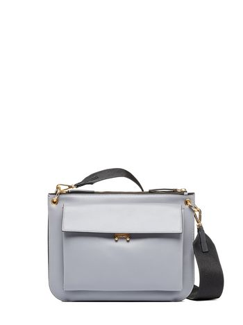 Marni two tone POCKET bandoleer bag in glossy calfskin Woman