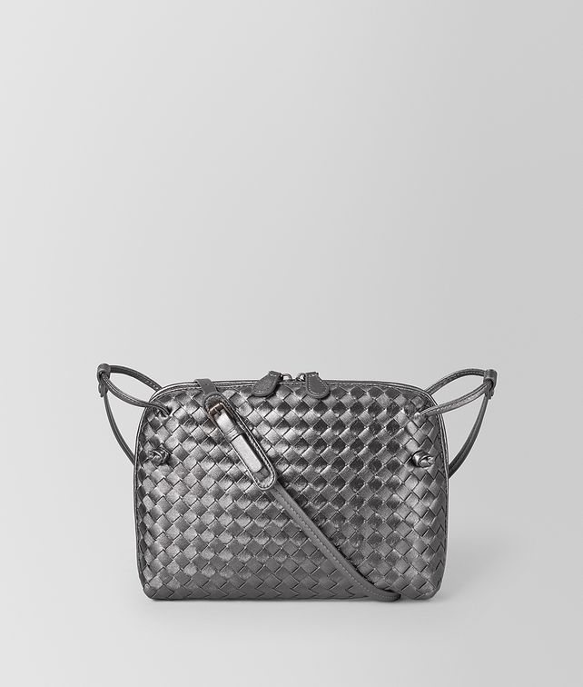 BOTTEGA VENETA ARGENTO OSSIDATO INTRECCIATO GROS GRAIN MESSENGER Crossbody bag Woman fp