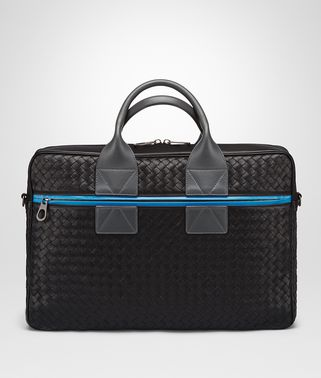 BRIEFCASE IN NERO PEACOCK ARDOISE INTRECCIATO NAPPA