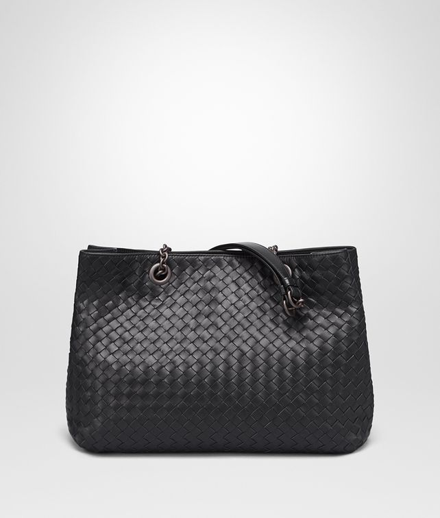 BOTTEGA VENETA BORSA SHOPPING MEDIA IN INTRECCIATO NAPPA NERO Borsa Shopping D fp