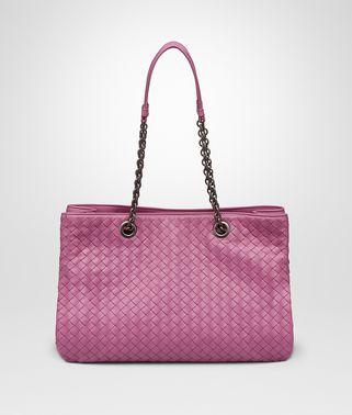 牡丹粉编织小羊皮中号购物袋