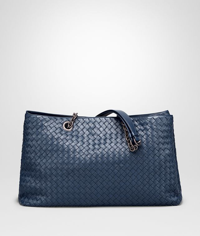 BOTTEGA VENETA GROSSE TOTE BAG AUS INTRECCIATO NAPPA IN PACIFIC Henkeltasche Damen fp