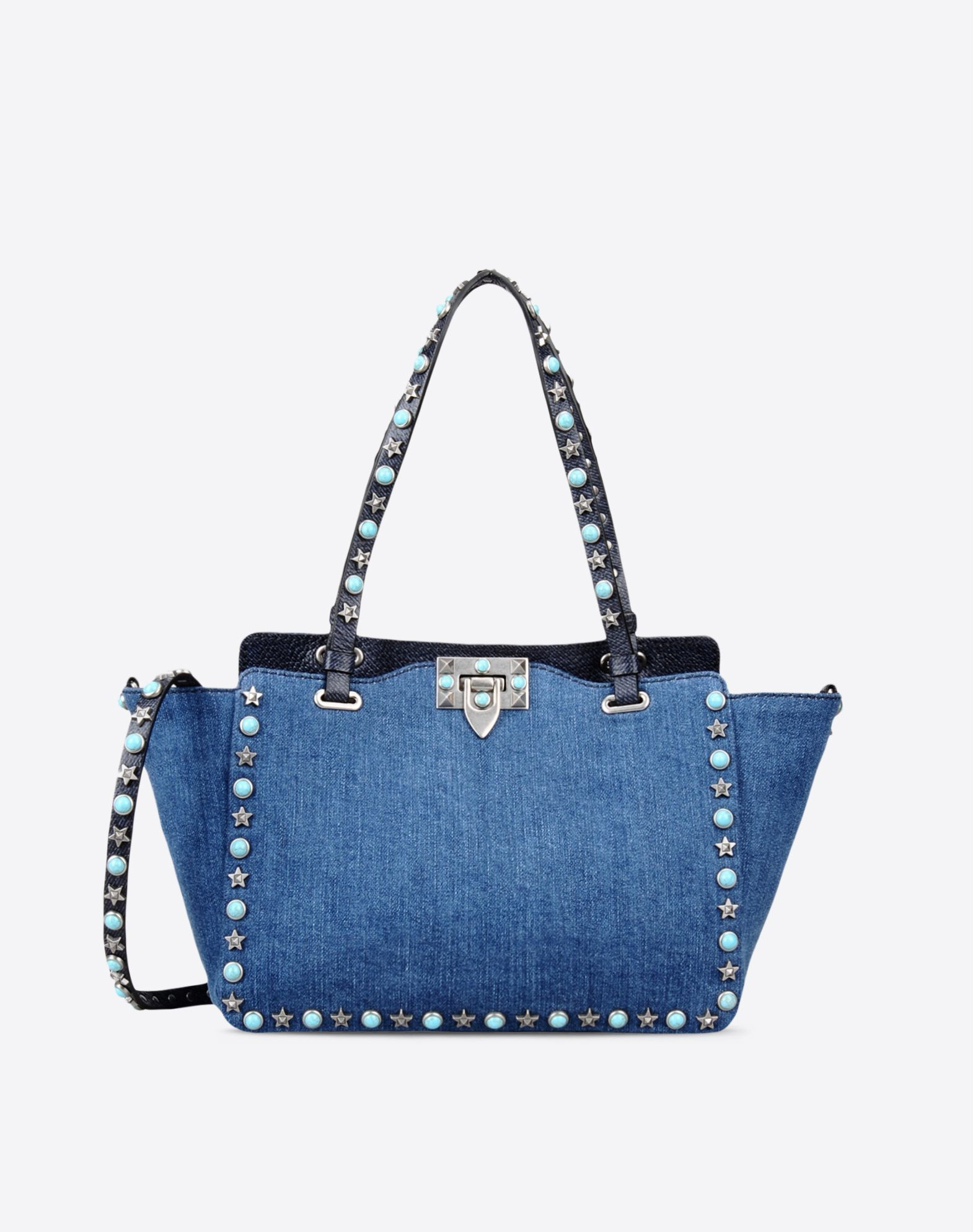 VALENTINO Double handle Logo Metal Applications Denim Solid color Framed closure Internal zip pocket Removable shoulder strap  45306195fo