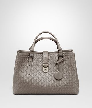 MEDIUM ROMA BAG IN STEEL INTRECCIATO CALF