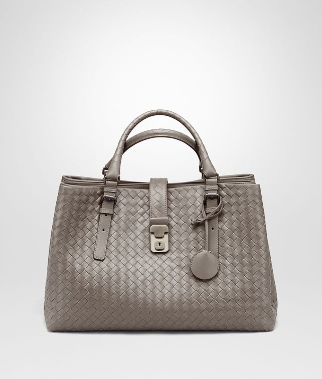 BOTTEGA VENETA MEDIUM ROMA BAG IN STEEL INTRECCIATO CALF Top Handle Bag D fp
