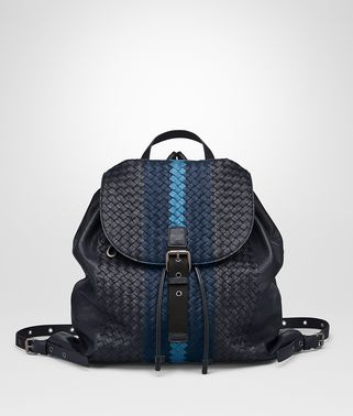 BACKPACK IN NEW DARK NAVY PACIFIC PEACOCK INTRECCIATO CLUB LAMB LEATHER