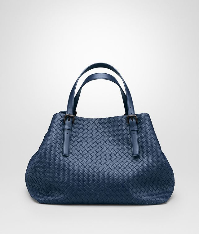 BOTTEGA VENETA LARGE TOTE BAG IN PACIFIC INTRECCIATO NAPPA Top Handle Bag D fp