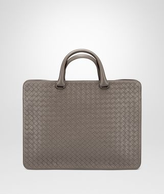 BRIEFCASE IN STEEL INTRECCIATO CALF