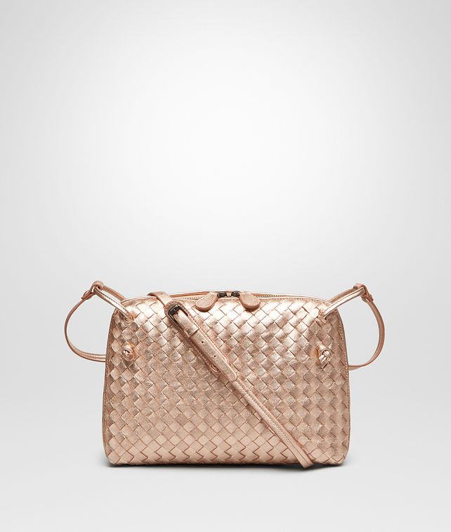 Bottega Veneta Messenger Bag In Rose Gold Intrecciato Gros Grain Crossbody Woman Fp