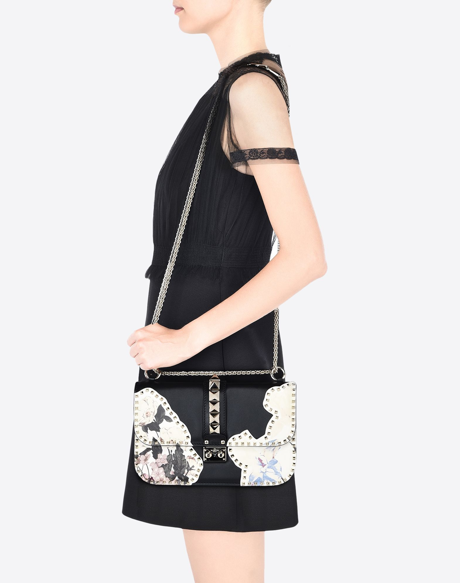 VALENTINO Studs Floral design Framed closure External pocket Internal zip pocket  45306970mh