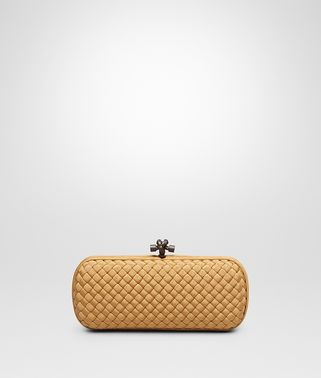 STRETCH KNOT CLUTCH IN ORO BRUCIATO INTRECCIO FAILLE MOIRE