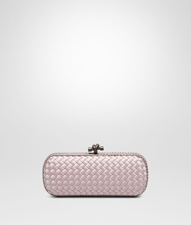 BOTTEGA VENETA STRETCH KNOT IN ROSE BUVARD INTRECCIO IMPERO WITH AYERS DETAILS Clutch [*** pickupInStoreShipping_info ***] fp