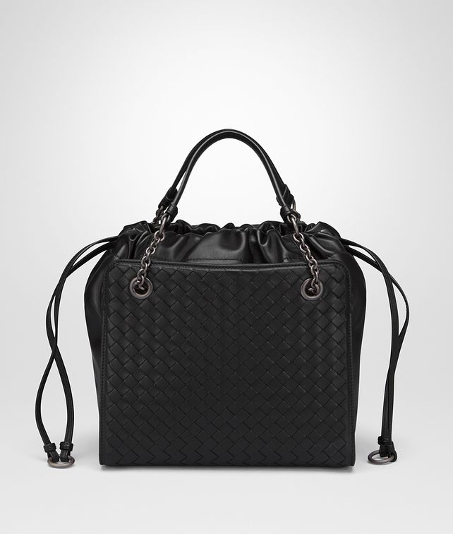 BOTTEGA VENETA SMALL TOTE BAG IN NERO NAPPA WITH INTRECCIATO DETAILS  Shoulder Bag     8732f54f82d4b