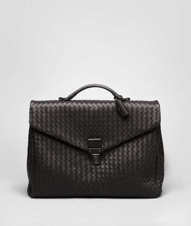 BOTTEGA VENETA SMALL BRIEFCASE IN ESPRESSO INTRECCIATO VN Business bag Man fp