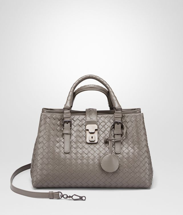 BOTTEGA VENETA SMALL ROMA BAG IN STEEL INTRECCIATO CALF Top Handle Bag D fp