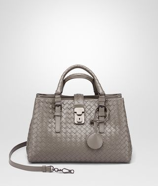 SMALL ROMA BAG IN STEEL INTRECCIATO CALF