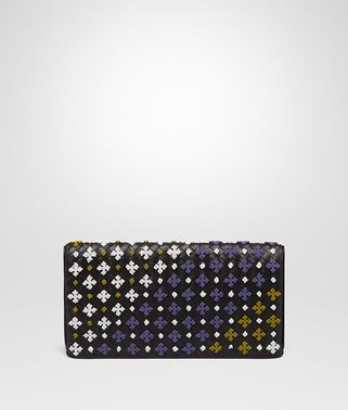CLUTCH BAG IN NERO MULTICOLOR EMBROIDERED INTRECCIATO NAPPA