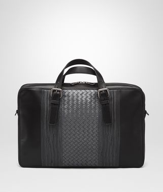 BRIEFCASE IN NERO ARDOISE NAPPA WITH INTRECCIATO DETAILS