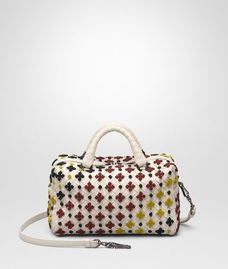 TOP HANDLE BAG IN MIST MULTICOLOR EMBROIDERED INTRECCIATO NAPPA