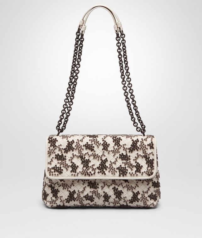 108e35570b9f BOTTEGA VENETA SMALL OLIMPIA BAG IN MIST EMBROIDERED INTRECCIATO NAPPA Shoulder  Bag