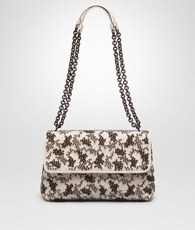 BOTTEGA VENETA SMALL OLIMPIA BAG IN MIST EMBROIDERED INTRECCIATO NAPPA Shoulder  Bag      9d553f50af5a1