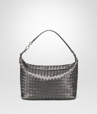SMALL SHOULDER BAG IN ARGENTO INTRECCIATO GROS GRAIN