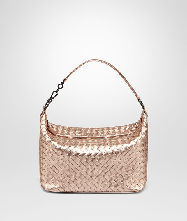 Bottega Veneta® - SMALL SHOULDER BAG IN ROSE GOLD INTRECCIATO GROS ...