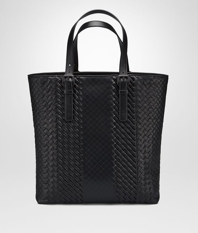 BOTTEGA VENETA AQUATRE BAG IN NERO INTRECCIO IMPERATORE CALF Tote Bag Man fp