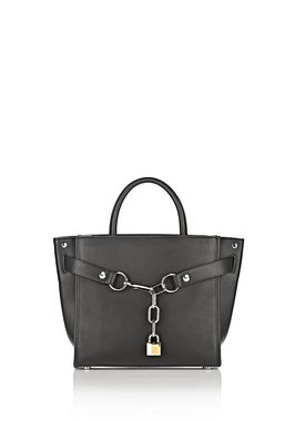 ATTICA CHAIN SATCHEL IN BLACK WITH RHODIUM