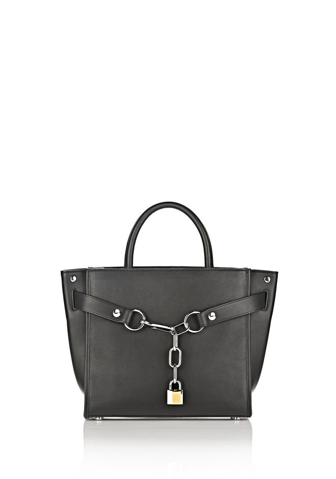 ALEXANDER WANG bags-classics ATTICA CHAIN SATCHEL IN BLACK WITH RHODIUM