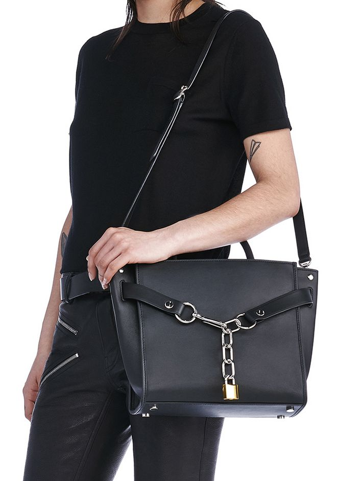 ALEXANDER WANG ATTICA CHAIN SATCHEL IN BLACK WITH RHODIUM Shoulder bag Adult 12_n_r