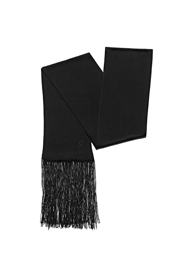 ALEXANDER WANG accessories EMBROIDERED SCARF WITH FRINGE