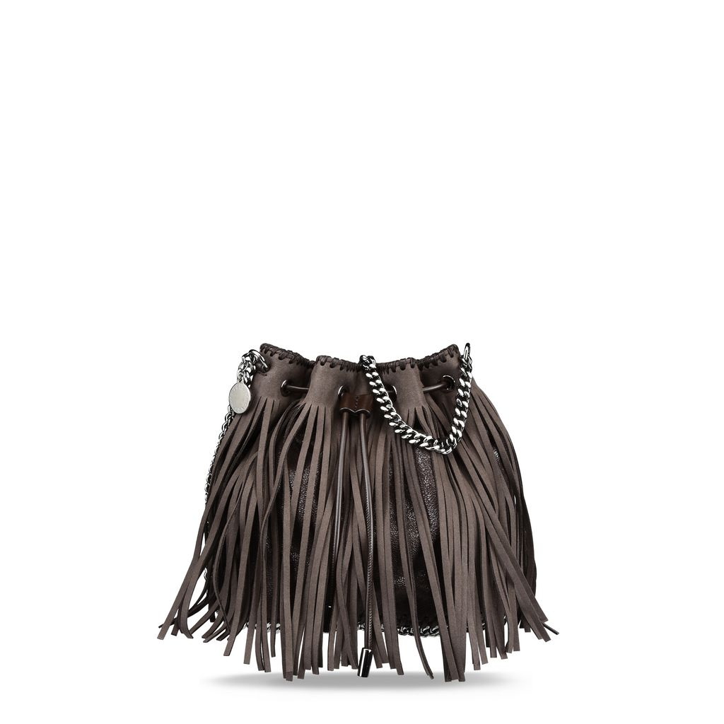 Coffee Falabella Fringed Bucket Bag  - STELLA MCCARTNEY
