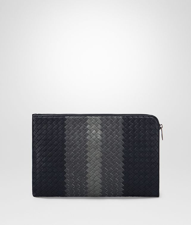 BOTTEGA VENETA DOCUMENT CASE IN NEW DARK NAVY ARDOISE NEW LIGHT GREY INTRECCIATO CLUB LAMB LEATHER Small bag U fp