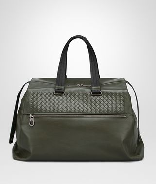 DUFFEL BAG IN DARK SERGEANT CALF, INTRECCIATO DETAILS