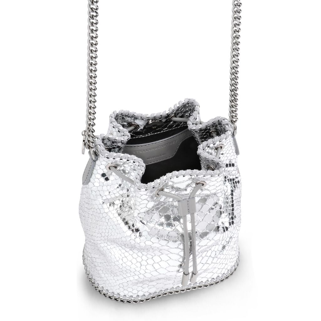 Silver Falabella Metallic Alter Snake Bucket Bag - STELLA MCCARTNEY