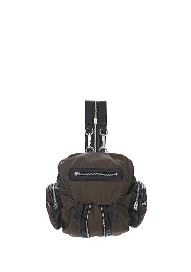 ALEXANDER WANG BACKPACKS MINI MARTI IN LEATHER AND MILITARY NYLON WITH RHODIUM