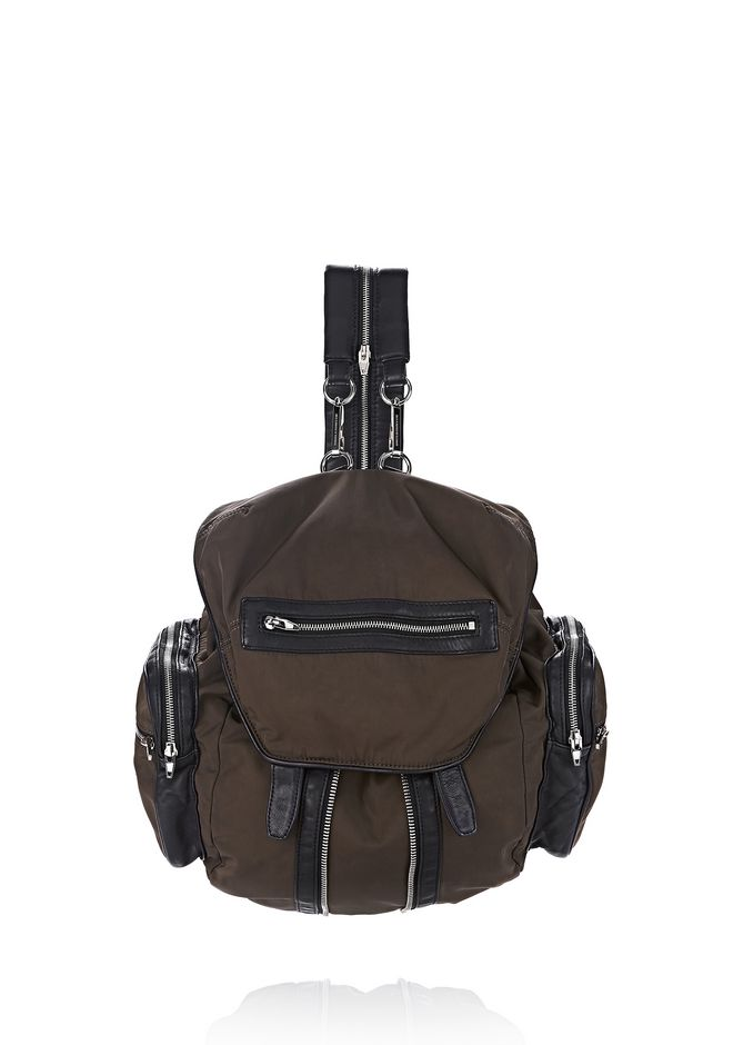 ALEXANDER WANG BACKPACKS MARTI IN LEATHER AND MILITARY NYLON WITH RHODIUM
