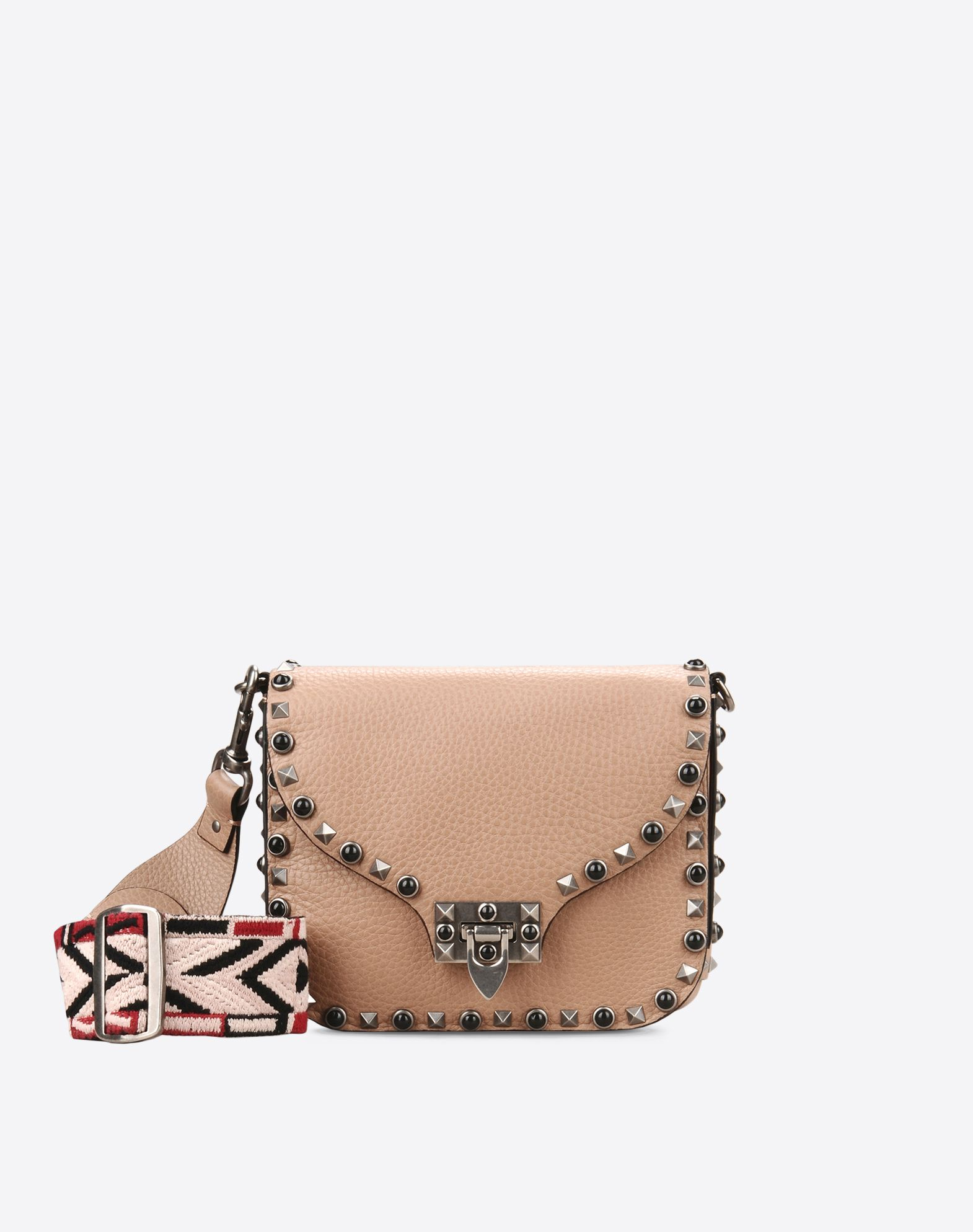 VALENTINO Textured leather Studs Logo Internal compartments Removable  shoulder strap 45314796wc