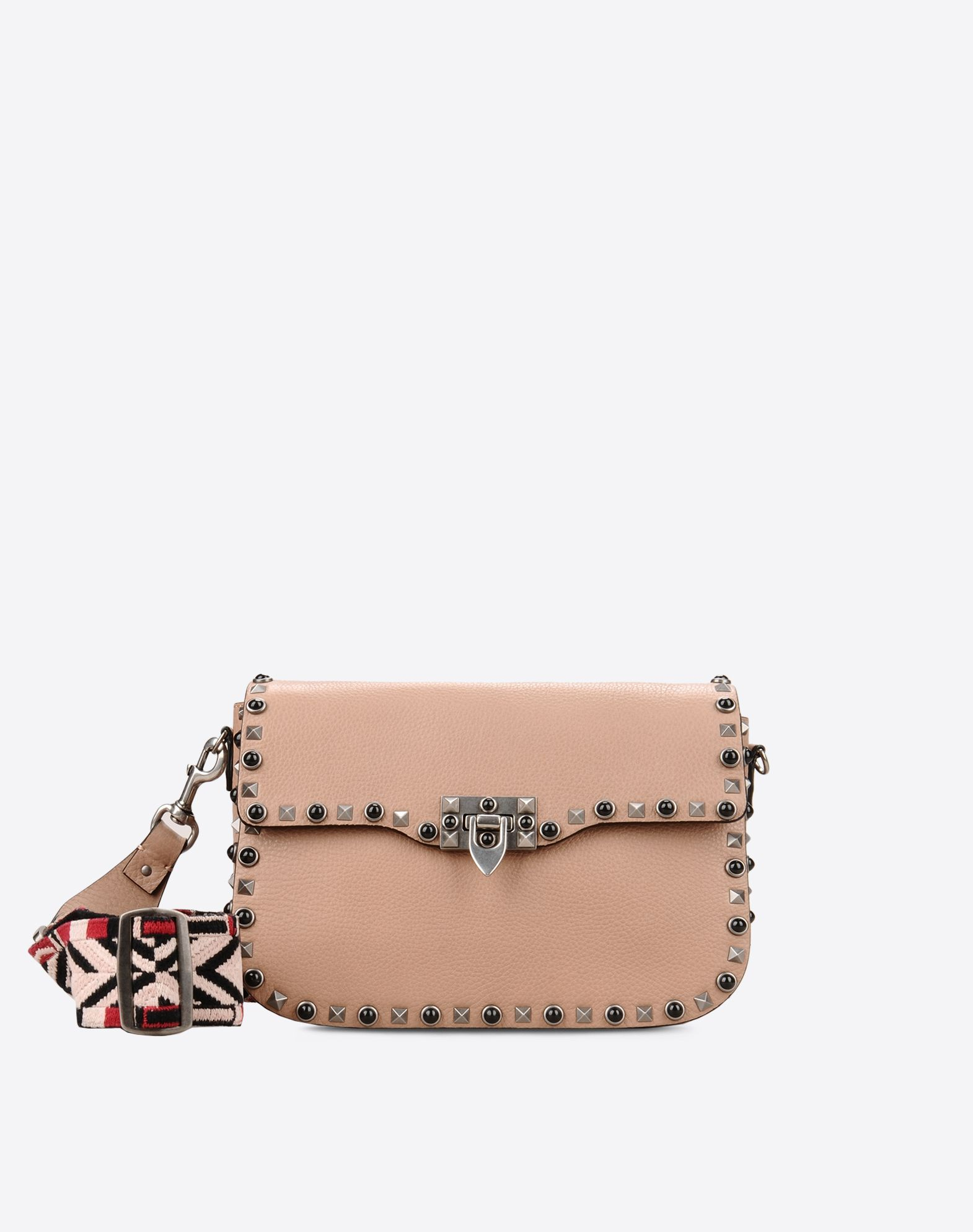 Valentino Garavani The Rockstud Rolling Textured-leather Shoulder Bag - Black Valentino 8Q5AqJpQ6C