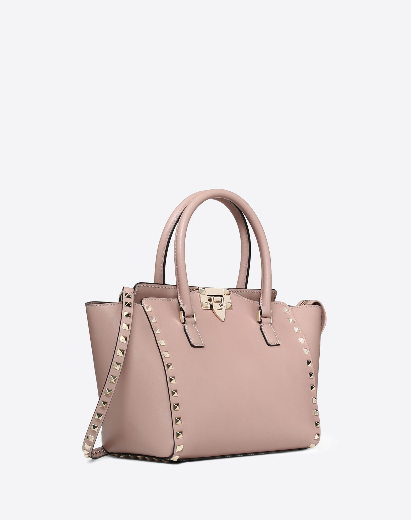 VALENTINO Double handle Logo Studs Solid color Zip closure Internal pockets Removable shoulder strap  45316241hs
