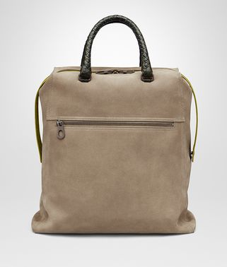 TOTE BAG IN ASH SUEDE, CAIMAN DETAILS IN DARK SERGEANT